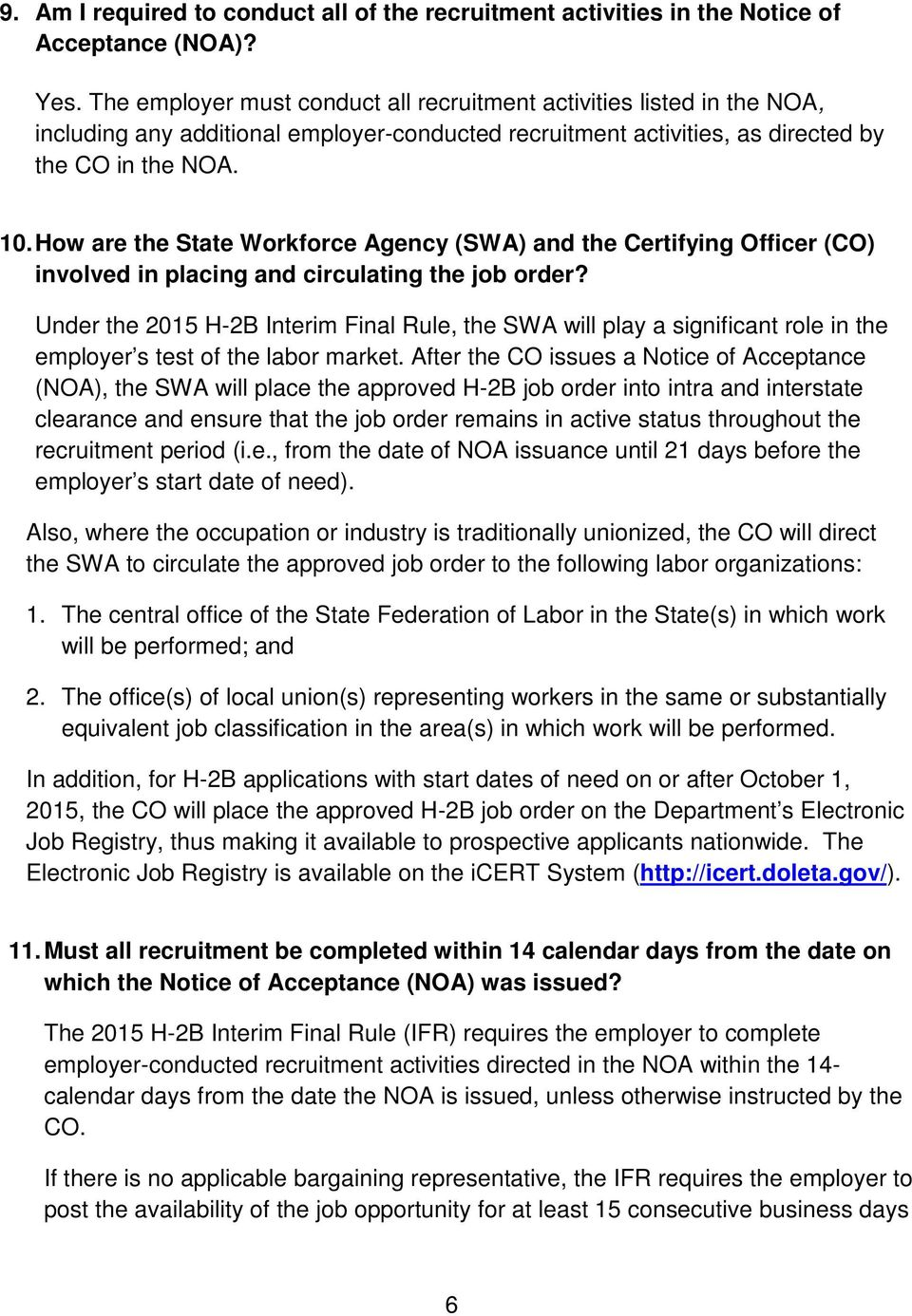 How are the State Workforce Agency (SWA) and the Certifying Officer (CO) involved in placing and circulating the job order?