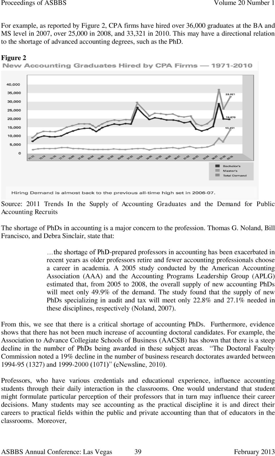 Figure 2 Source: 2011 Trends In the Supply of Accounting Graduates and the Demand for Public Accounting Recruits The shortage of PhDs in accounting is a major concern to the profession. Thomas G.