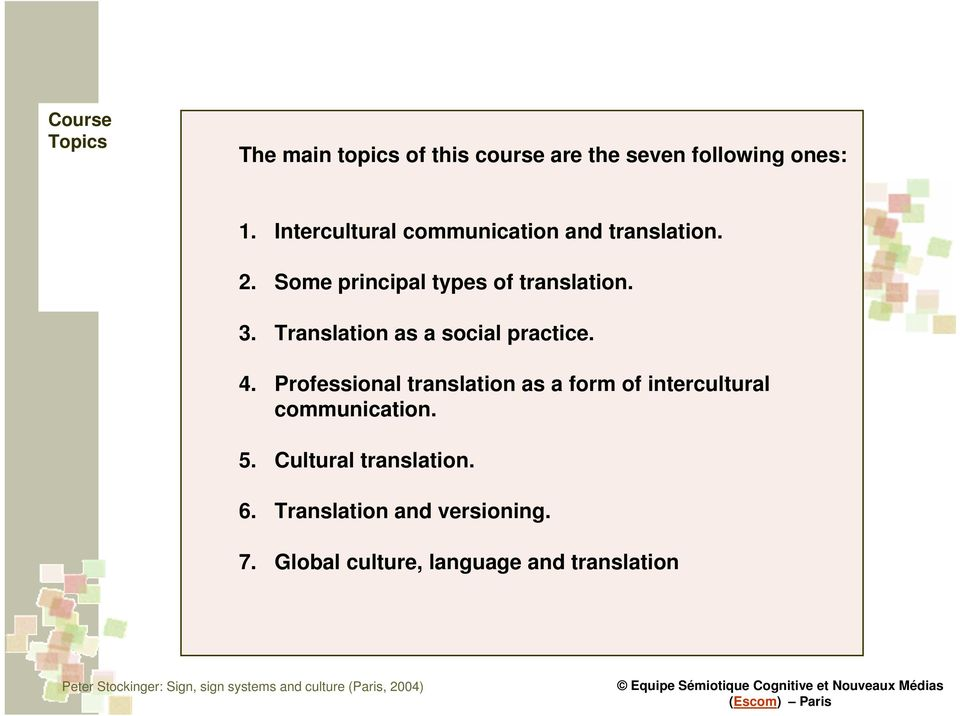 Translation as a social practice. 4.