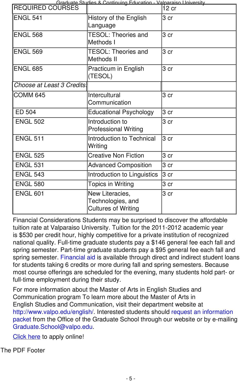 Composition ENGL 543 Introduction to Linguistics ENGL 580 Topics in ENGL 601 New Literacies, Technologies, and Cultures of Financial Considerations Students may be surprised to discover the