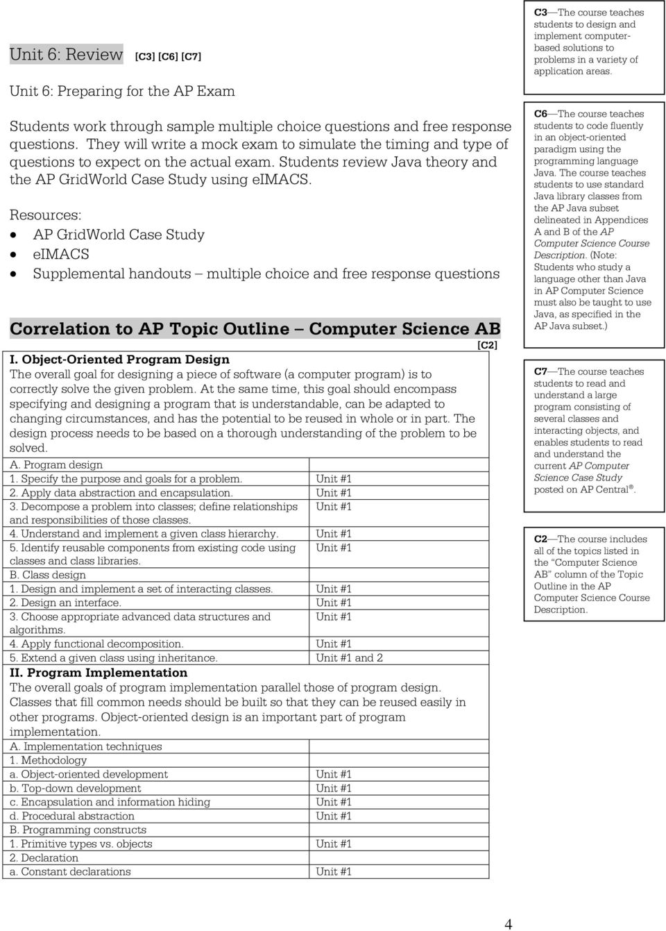 AP GridWorld Case Study eimacs Supplemental handouts multiple choice and free response questions Correlation to AP Topic Outline Computer Science AB [C2] I.