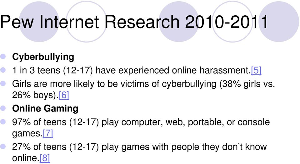 [5] Girls are more likely to be victims of cyberbullying (38% girls vs. 26% boys).