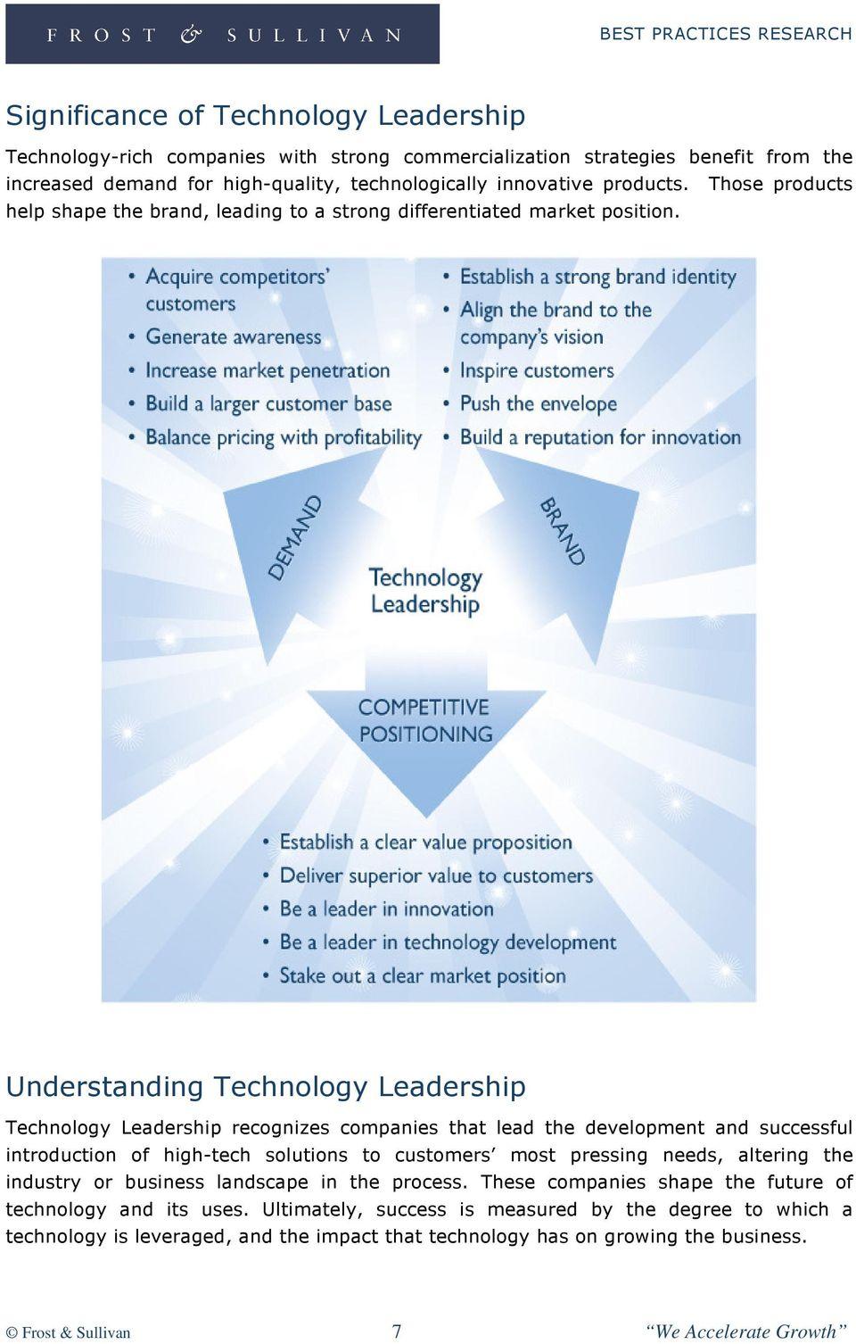 Understanding Technology Leadership Technology Leadership recognizes companies that lead the development and successful introduction of high-tech solutions to customers most pressing needs,