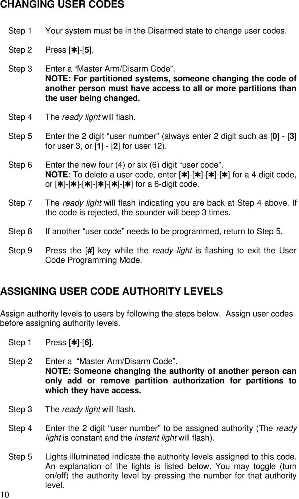Step 5 Enter the 2 digit user number (always enter 2 digit such as [0] - [3] for user 3, or [1] - [2] for user 12). Step 6 Step 7 Enter the new four (4) or six (6) digit user code.