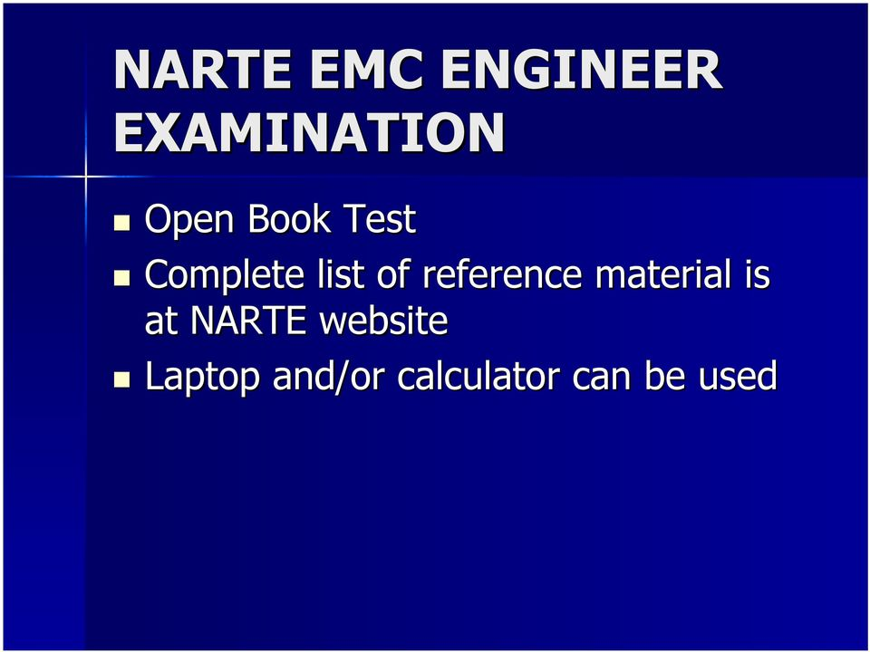 reference material is at NARTE