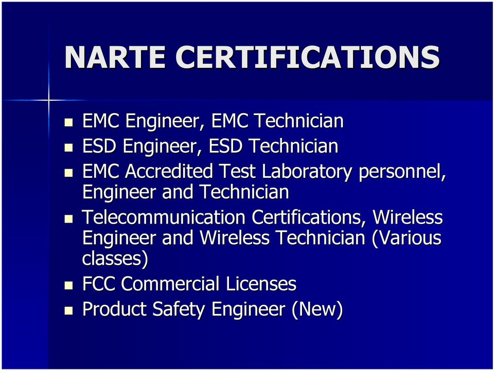 Technician Telecommunication Certifications, Wireless Engineer and