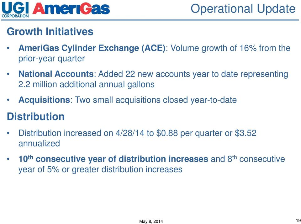 2 million additional annual gallons Acquisitions: Two small acquisitions closed year-to-date Distribution Distribution