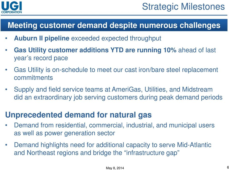 Midstream did an extraordinary job serving customers during peak demand periods Unprecedented demand for natural gas Demand from residential, commercial, industrial, and