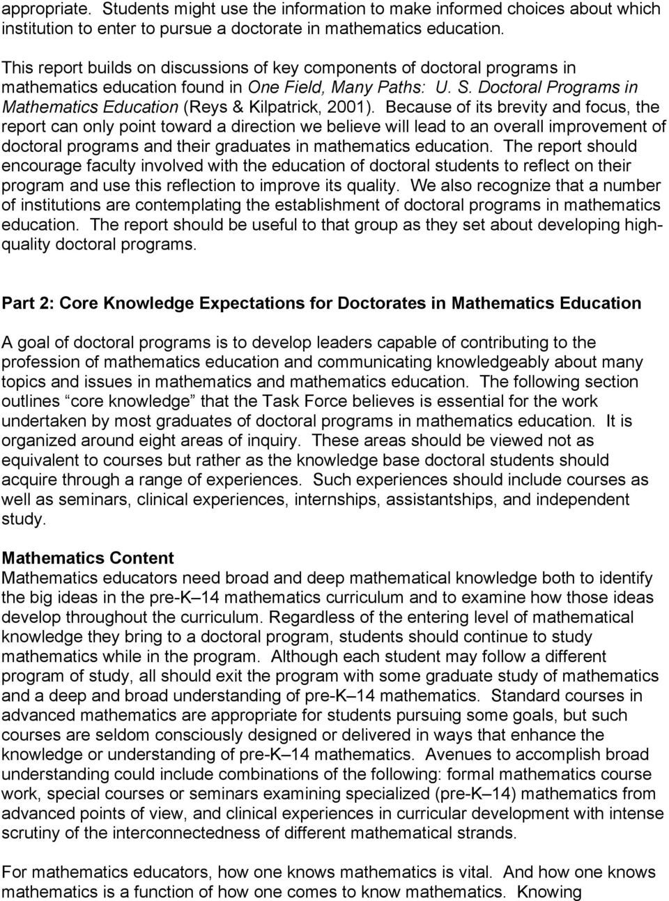 Doctoral Programs in Mathematics Education (Reys & Kilpatrick, 2001).