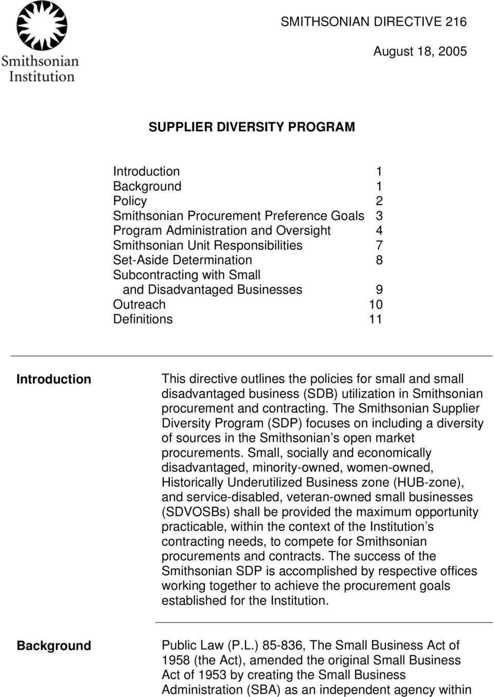 small disadvantaged business (SDB) utilization in Smithsonian procurement and contracting.