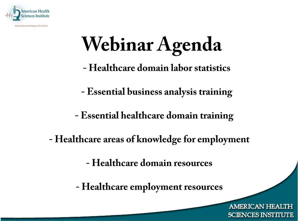 domain training - Healthcare areas of knowledge for