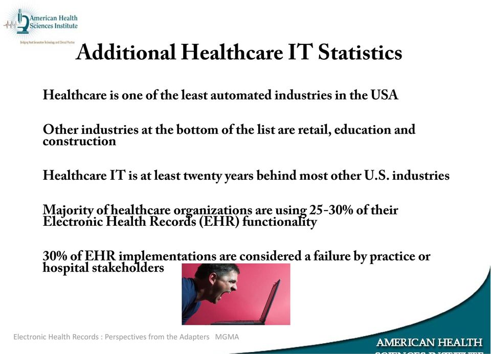 industries Majority of healthcare organizations are using 25-30% of their Electronic Health Records (EHR) functionality 30% of