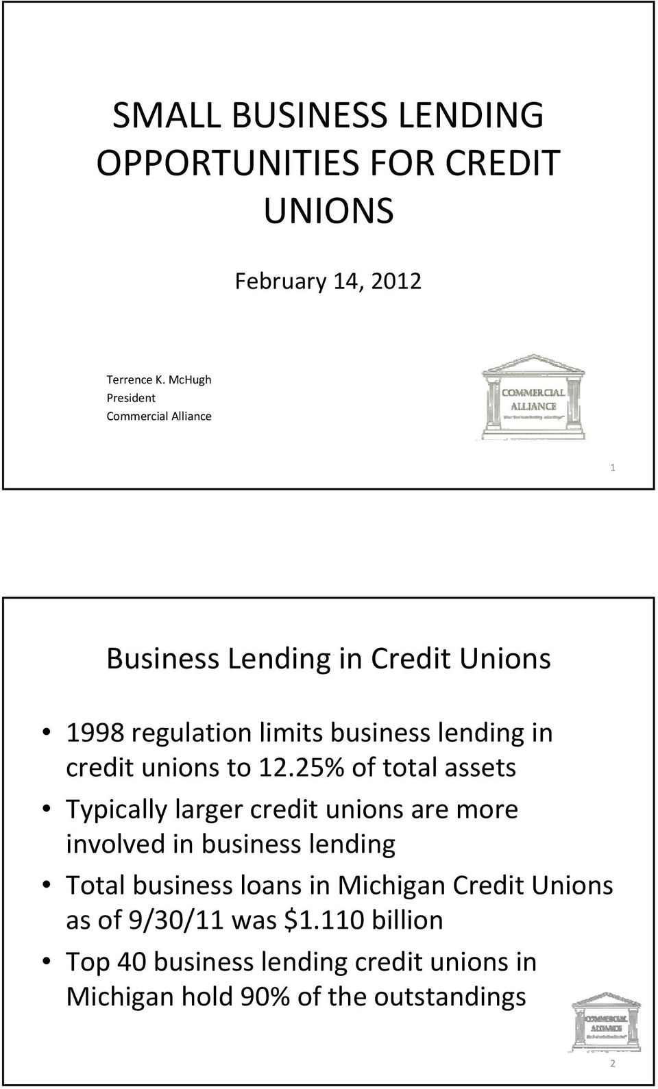 credit unions to 12.