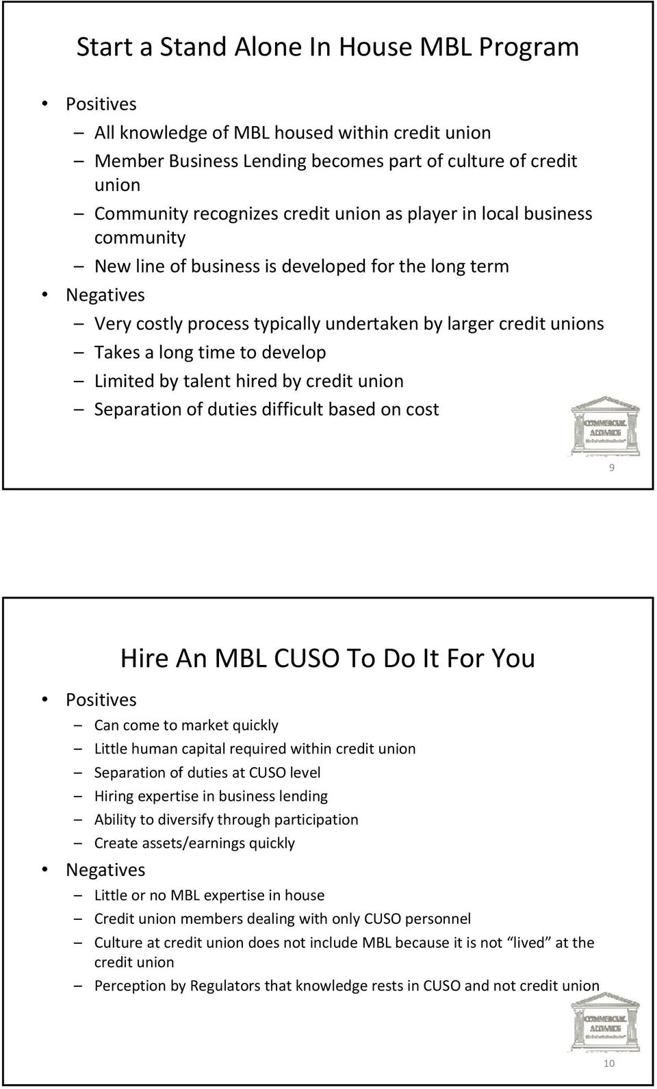 by talent hired by credit union Separation of duties difficult based on cost 9 Positives Hire An MBL CUSO To Do It For You Can come to market quickly Little human capital required within credit union