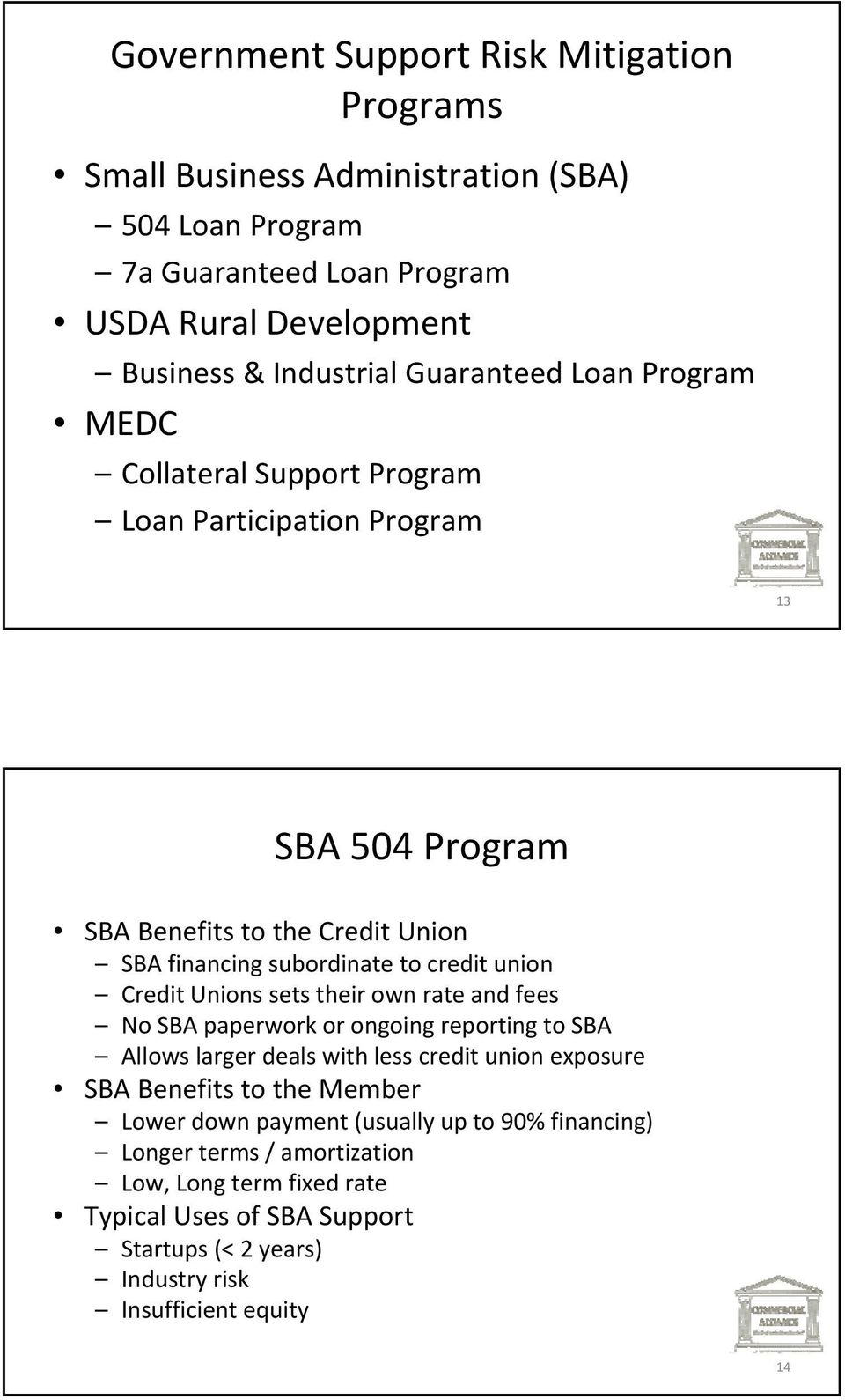 union Credit Unions sets their own rate and fees No SBA paperwork or ongoing reporting to SBA Allows larger deals with less credit union exposure SBA Benefits to the Member