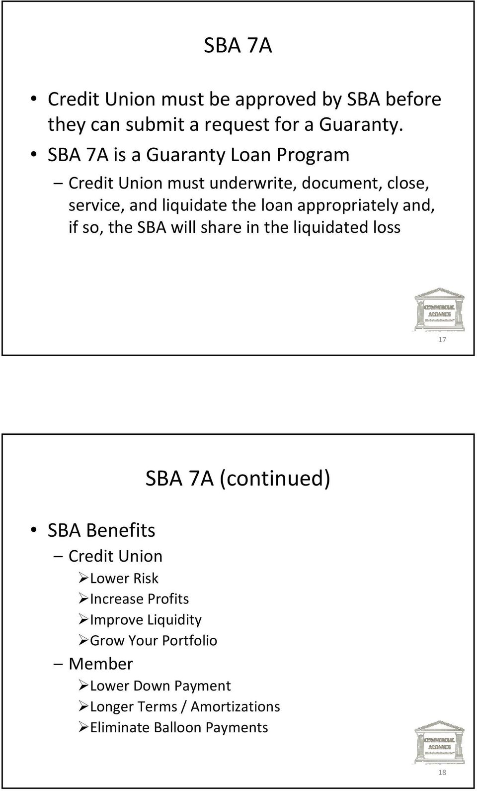 appropriately and, if so, the SBA will share in the liquidated loss 17 SBA 7A (continued) SBA Benefits Credit Union