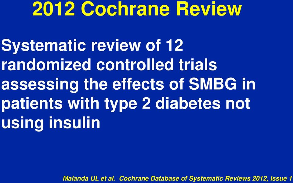 patients with type 2 diabetes not using insulin Malanda