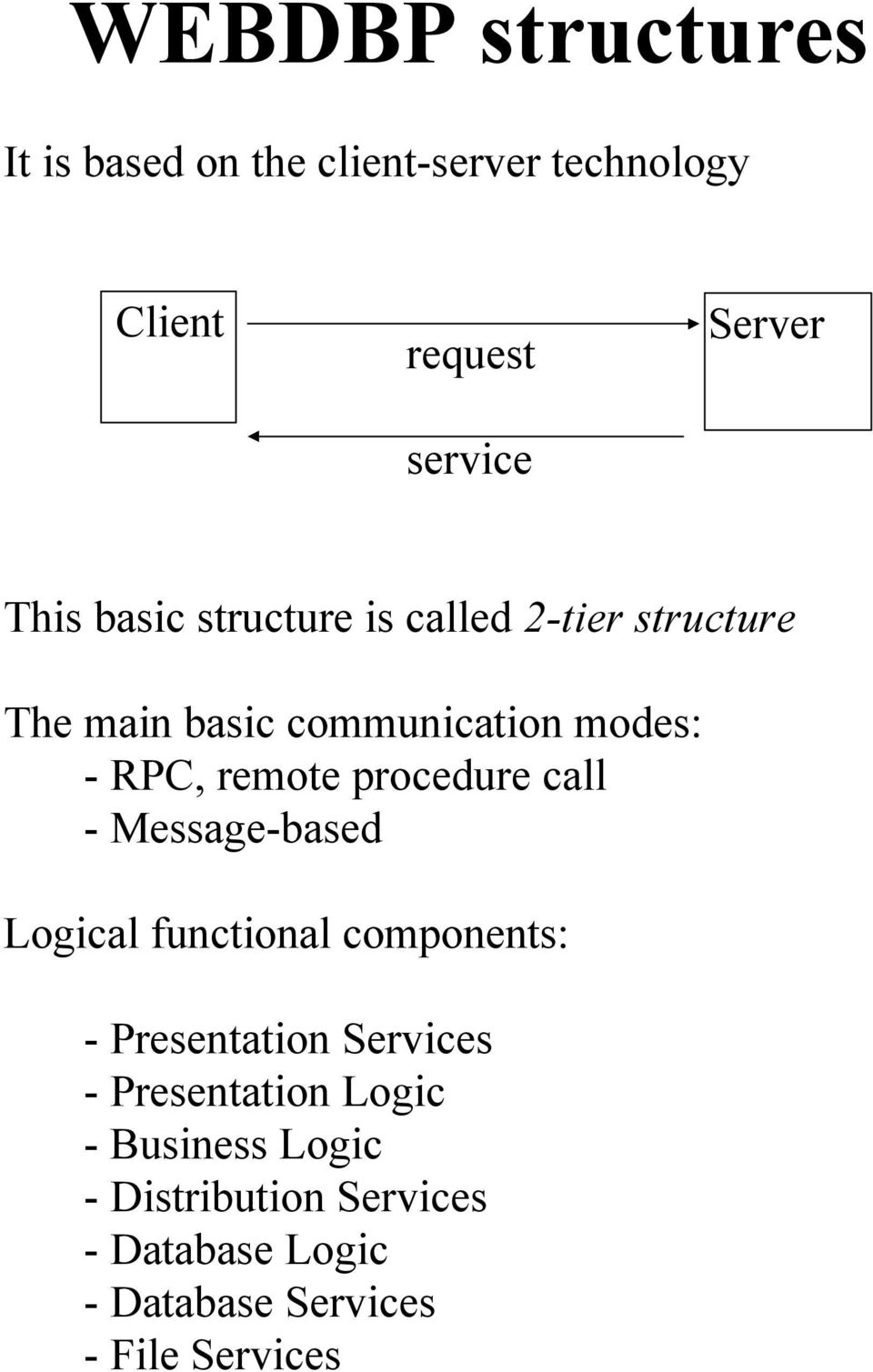 procedure call - Message-based Logical functional components: - Presentation Services -