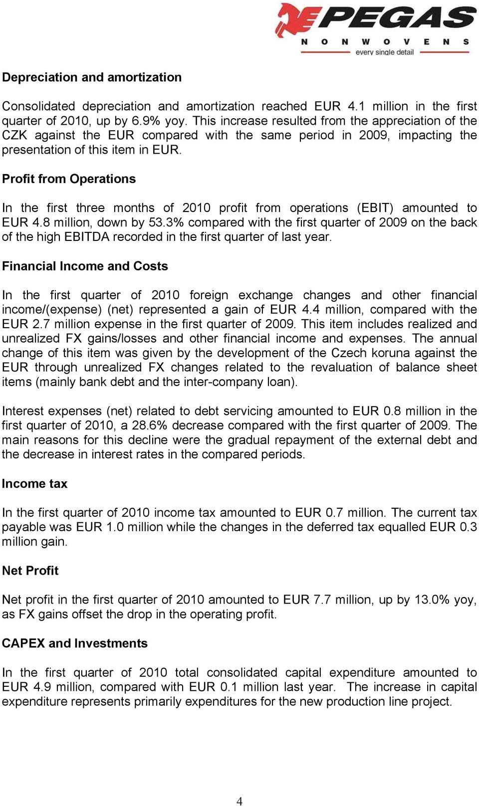 Profit from Operations In the first three months of 2010 profit from operations (EBIT) amounted to EUR 4.8 million, down by 53.