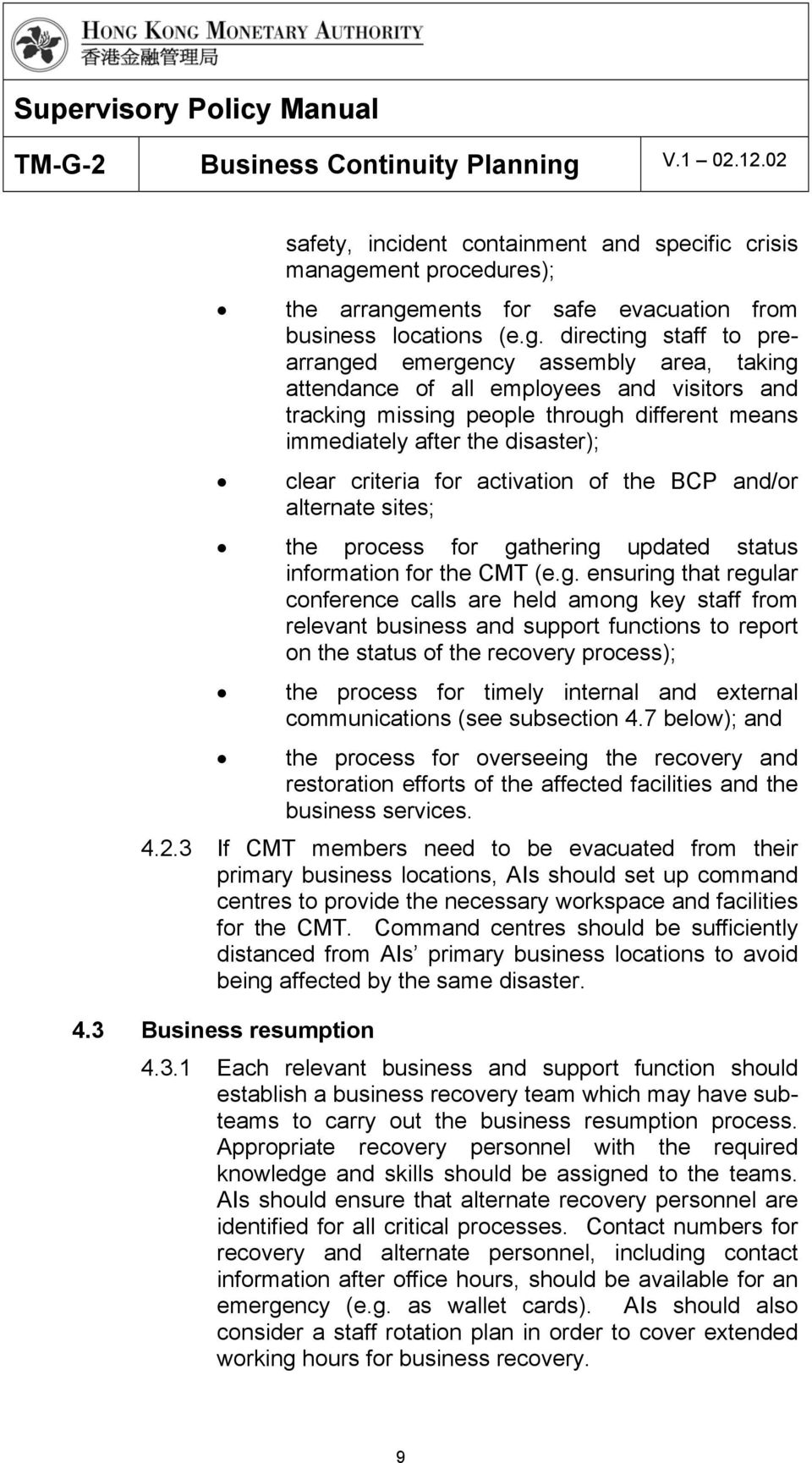 ments for safe evacuation from business locations (e.g.