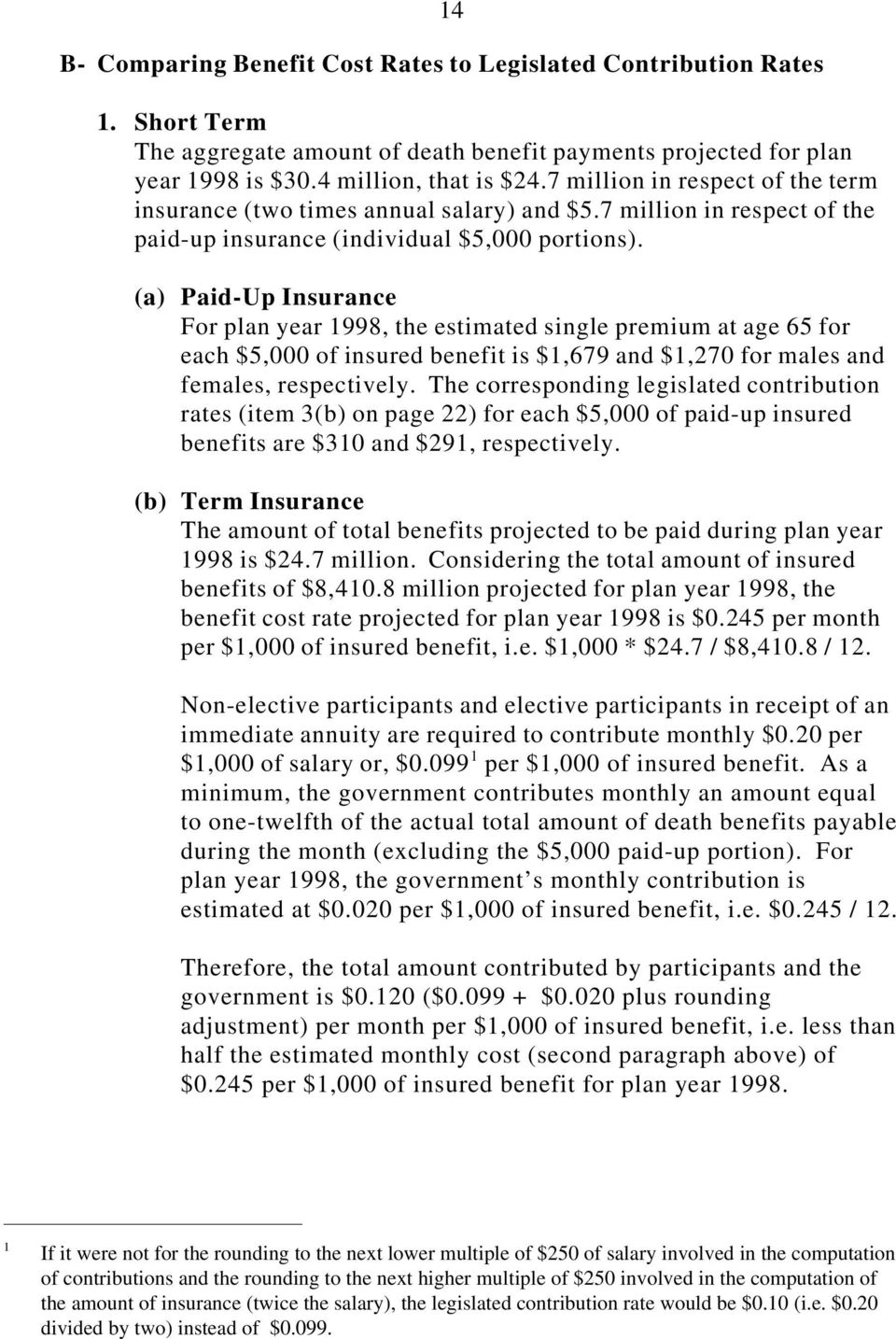 (a) Paid-Up Insurance For plan year 1998, the estimated single premium at age 65 for each $5,000 of insured benefit is $1,679 and $1,270 for males and females, respectively.