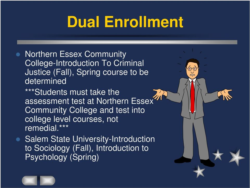 Northern Essex Community College and test into college level courses, not remedial.