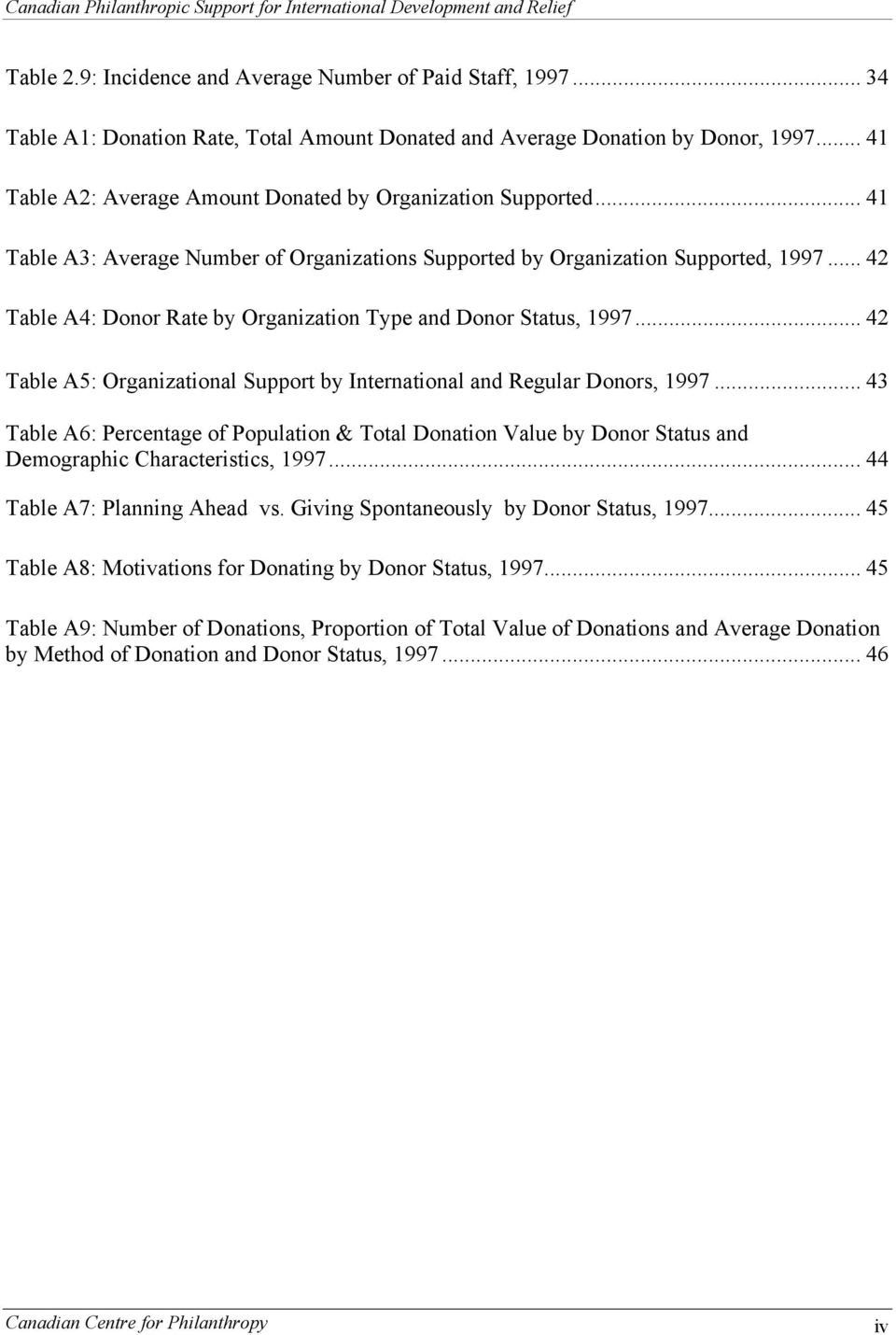 .. 42 Table A4: Donor Rate by Organization Type and Donor Status, 1997... 42 Table A5: Organizational Support by International and Regular Donors, 1997.