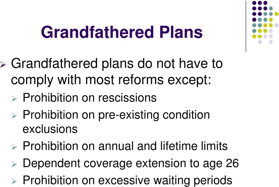 condition exclusions Prohibition on annual and lifetime limits