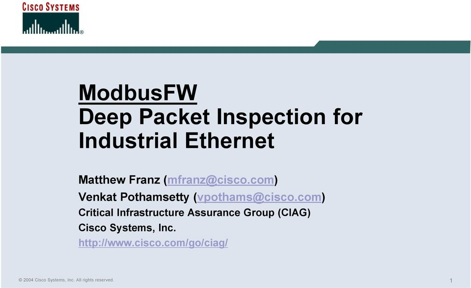 ModbusFW Deep Packet Inspection for Industrial Ethernet - PDF