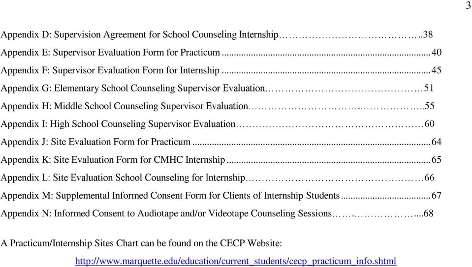 ..55 Appendix I: High School Counseling Supervisor Evaluation 60 Appendix J: Site Evaluation Form for Practicum... 64 Appendix K: Site Evaluation Form for CMHC Internship.