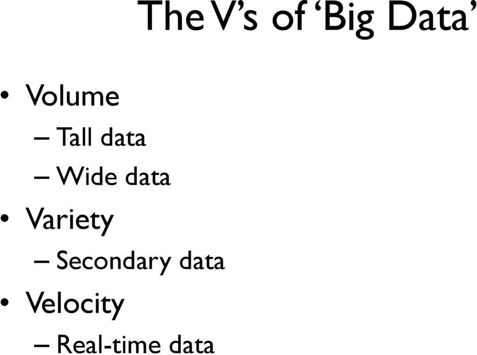 data Variety Secondary