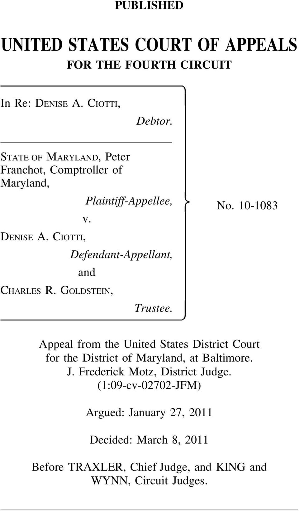Defendant-Appellant, and CHARLES R. GOLDSTEIN, Trustee. No.