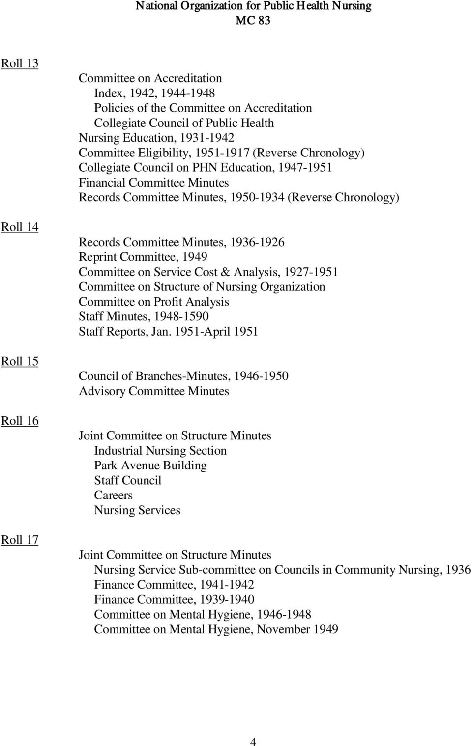 Committee Minutes, 1936-1926 Reprint Committee, 1949 Committee on Service Cost & Analysis, 1927-1951 Committee on Structure of Nursing Organization Committee on Profit Analysis Staff Minutes,