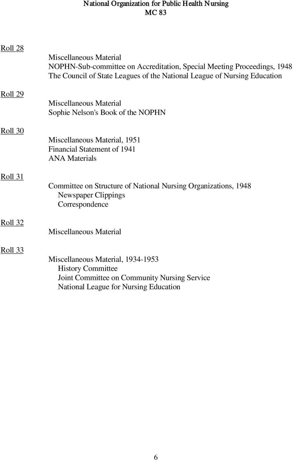 Financial Statement of 1941 ANA Materials Committee on Structure of National Nursing Organizations, 1948 Newspaper