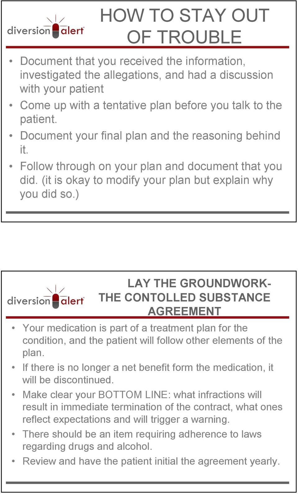 ) LAY THE GROUNDWORK- THE CONTOLLED SUBSTANCE AGREEMENT Your medication is part of a treatment plan for the condition, and the patient will follow other elements of the plan.