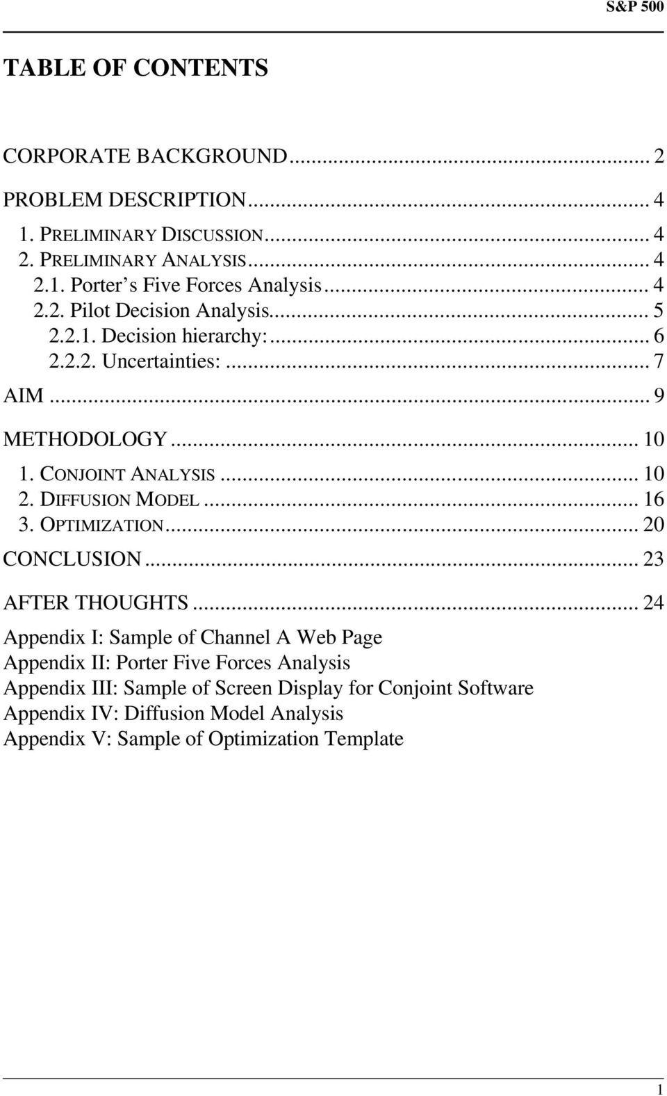 DIFFUSION MODEL... 16 3. OPTIMIZATION... 20 CONCLUSION... 23 AFTER THOUGHTS.