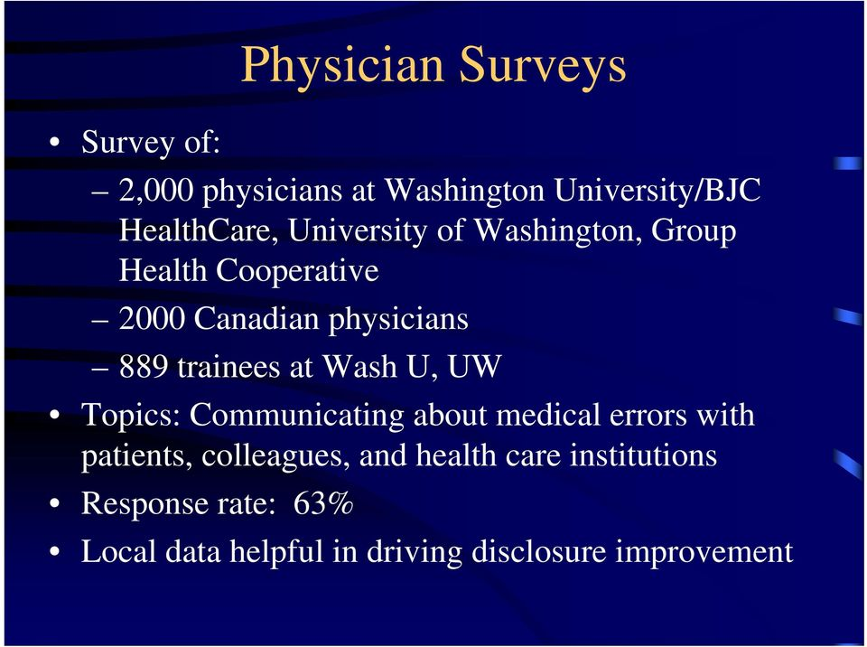at Wash U, UW Topics: Communicating about medical errors with patients, colleagues, and