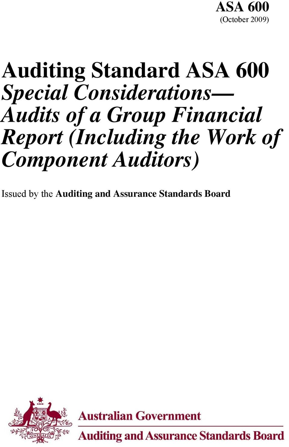 Report (Including the Work of Component Auditors)