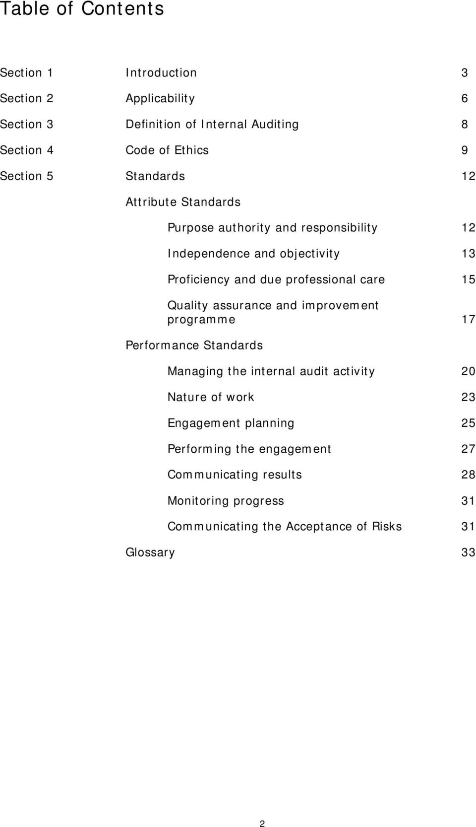professional care 15 Quality assurance and improvement programme 17 Performance Standards Managing the internal audit activity 20 Nature of work