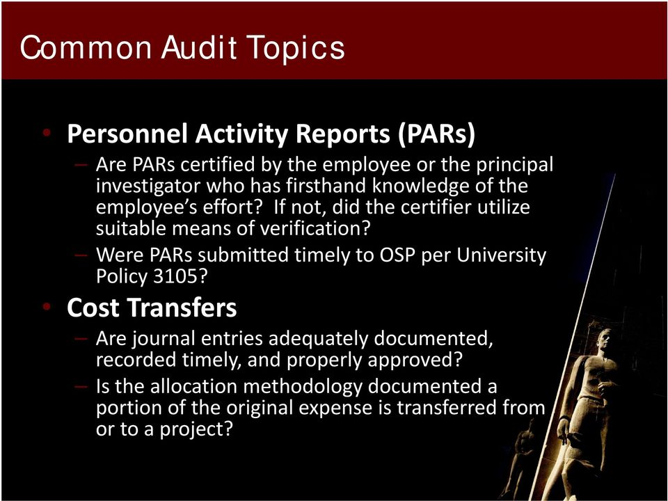 Were PARs submitted timely to OSP per University Policy 3105?