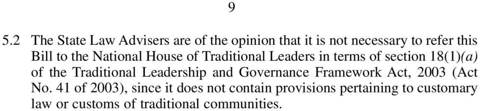 Traditional Leadership and Governance Framework Act, 2003 (Act No.