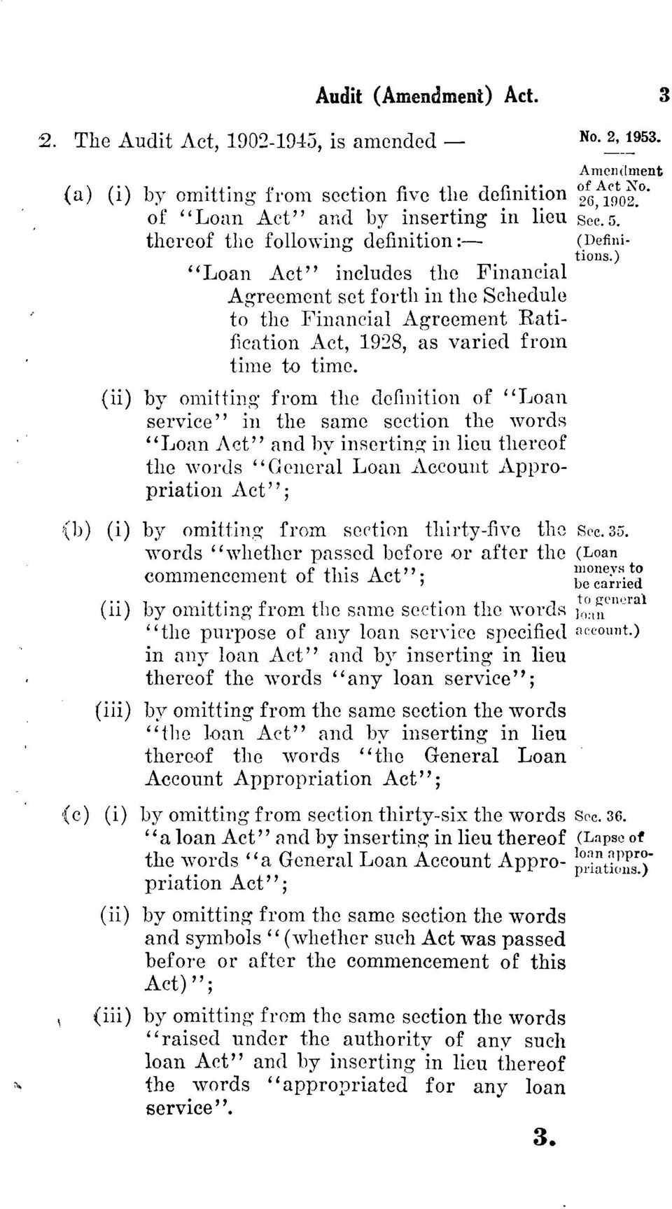 "(ii) by omitting from the definition of ""Loan service"" in the same section the words ""Loan Act"" and by inserting in lieu thereof the words ""General Loan Account Appropriation Act""; (b) (i) by"