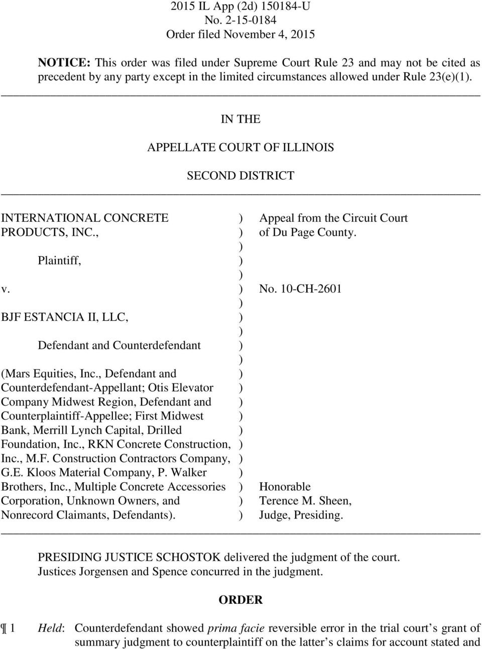 10-CH-2601 BJF ESTANCIA II, LLC, Defendant and Counterdefendant (Mars Equities, Inc.