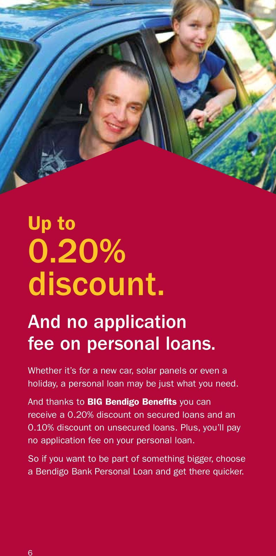 And thanks to BIG Bendigo Benefits you can receive a 0.20% discount on secured loans and an 0.