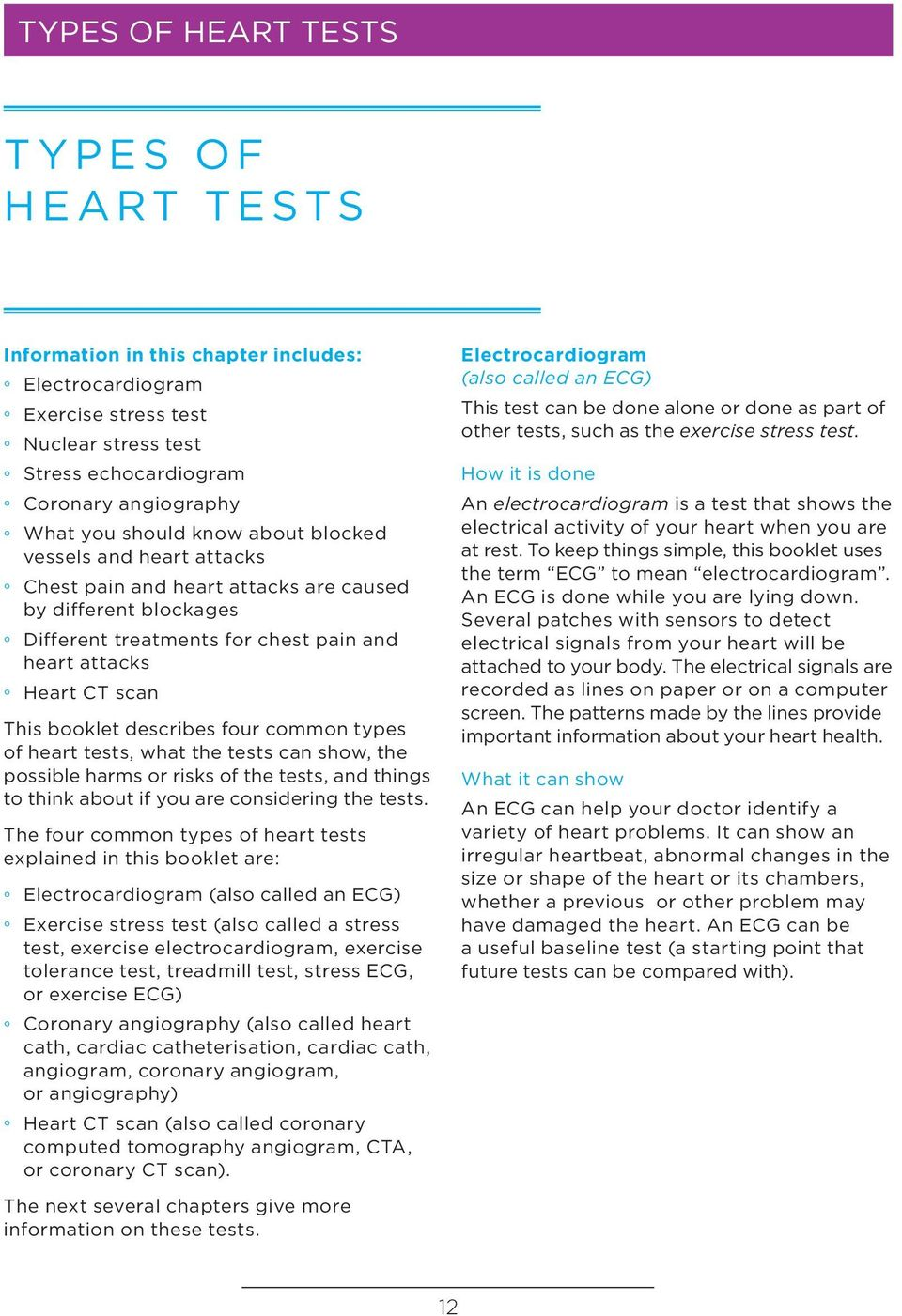 four common types of heart tests, what the tests can show, the possible harms or risks of the tests, and things to think about if you are considering the tests.