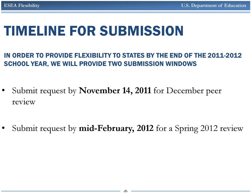 SUBMISSION WINDOWS Submit request by November 14, 2011 for