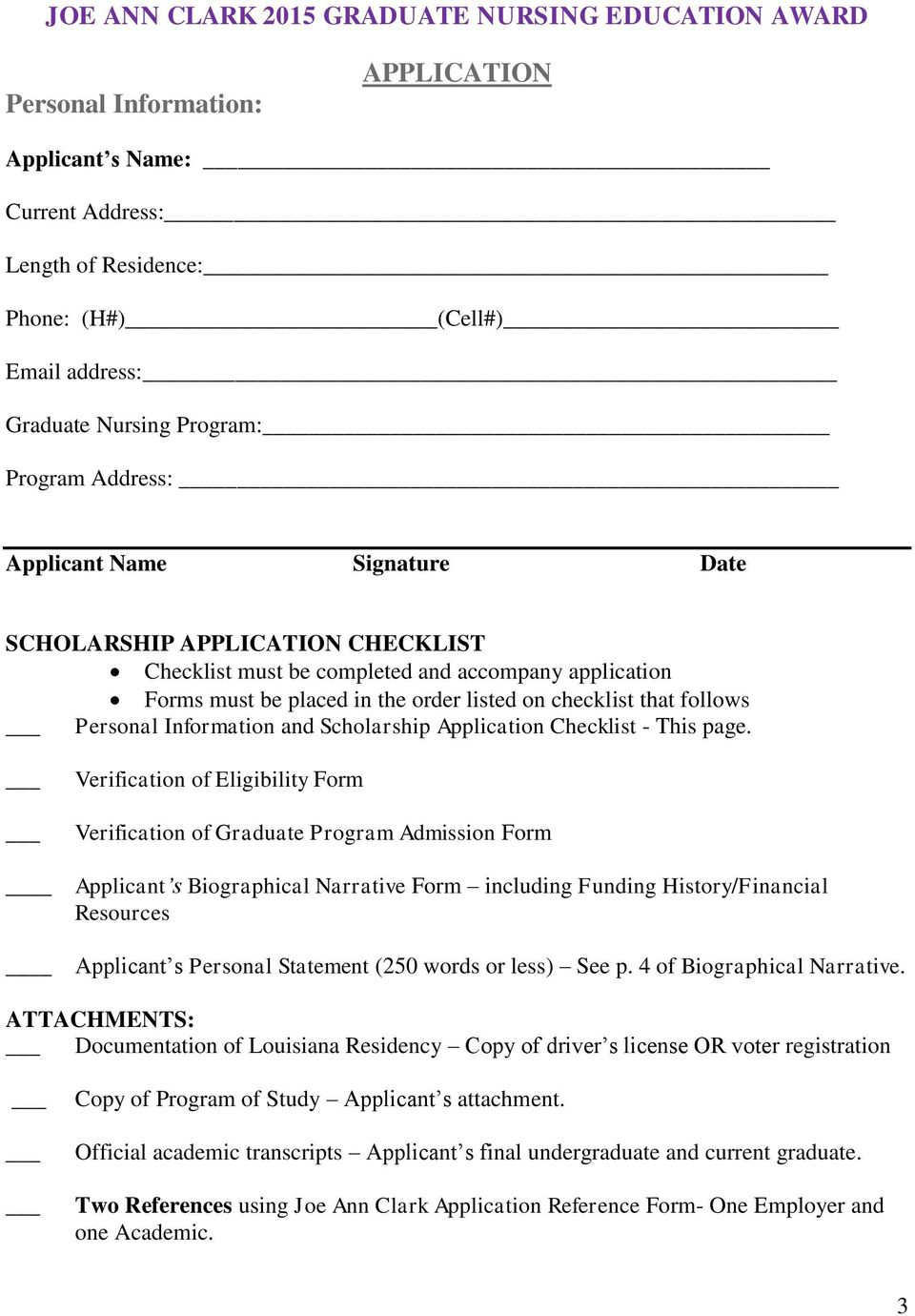 that follows Personal Information and Scholarship Application Checklist - This page.