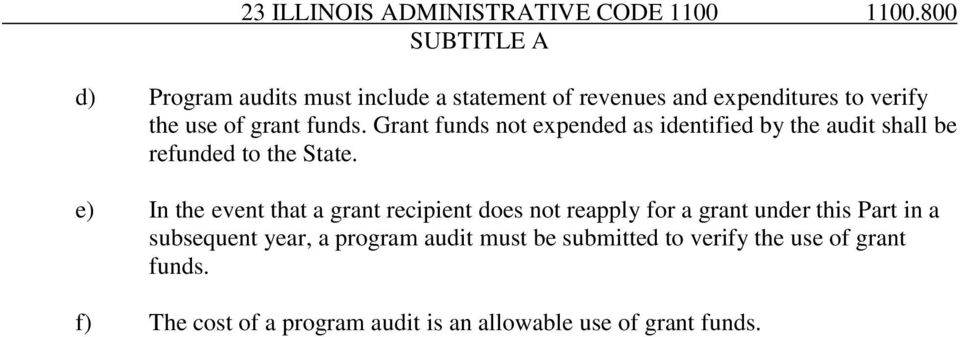 Grant funds not expended as identified by the audit shall be refunded to the State.