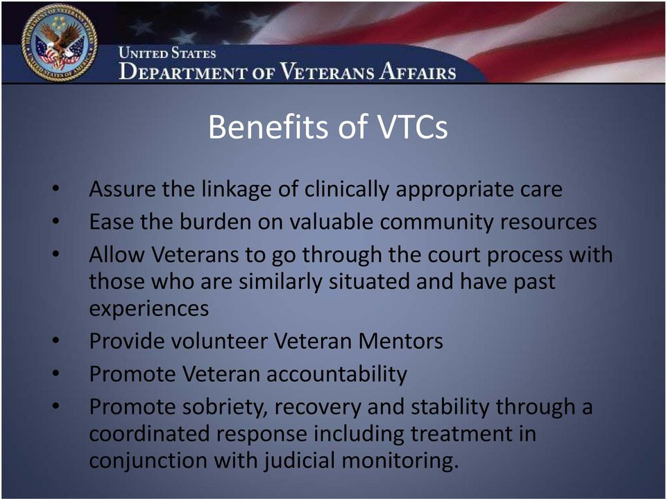 past experiences Provide volunteer Veteran Mentors Promote Veteran accountability Promote sobriety,