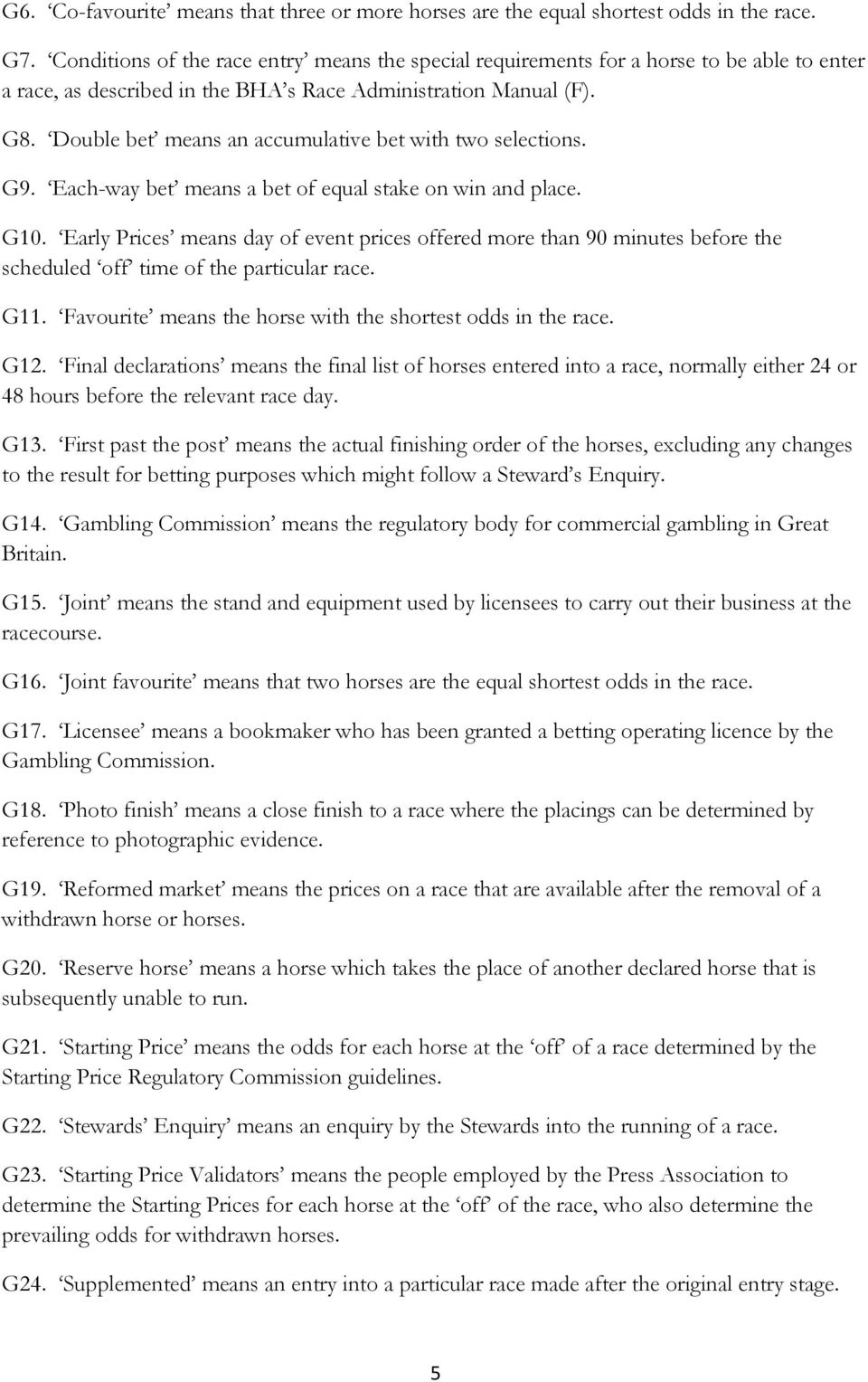 Tattersalls Committee Rules on Betting - PDF